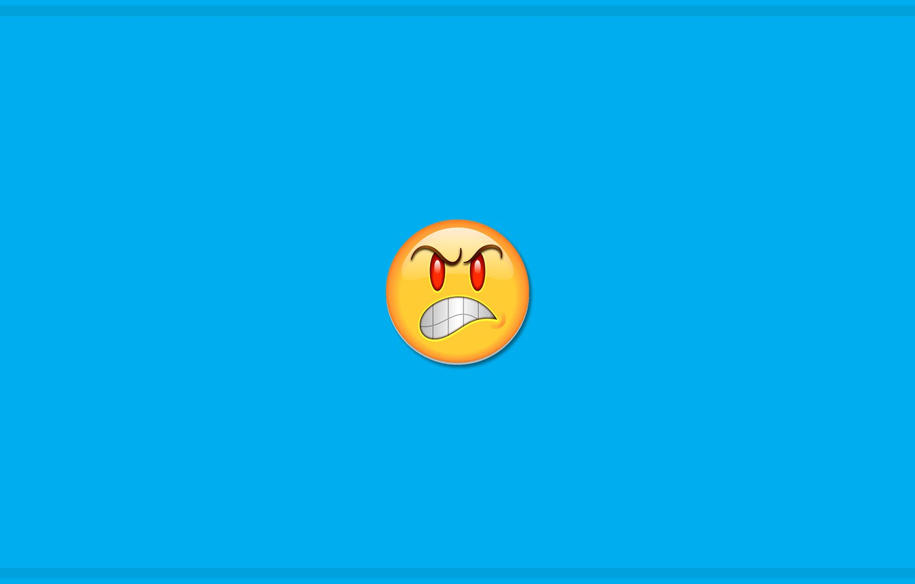 Photo wallpaper colors, minimalism, yellow, blue, red eyes, mood, blue background, digital art, artwork, mouth, anger, simple …