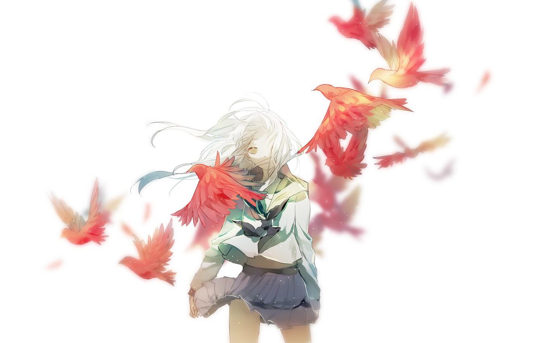 Photo wallpaper birds, background, anime, art, girl