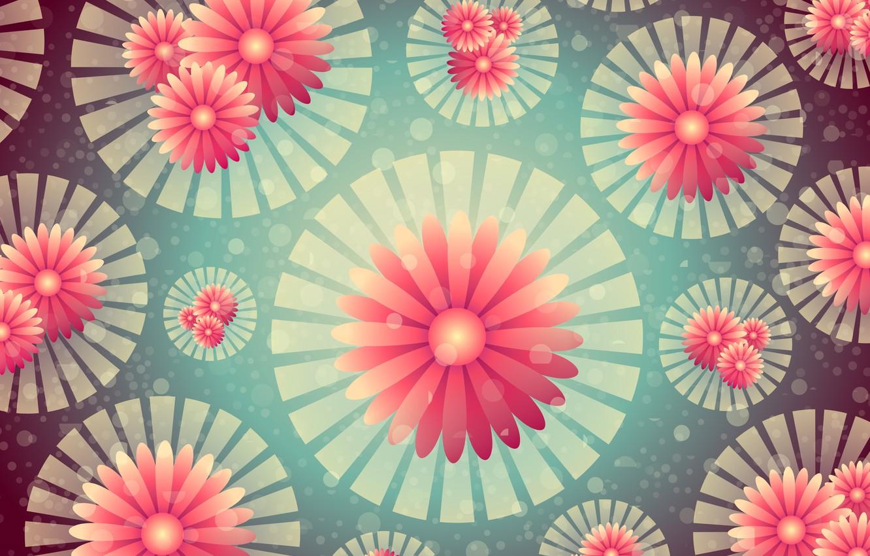 Photo wallpaper flowers, background, graphics, texture, geometry, bokeh, digital art