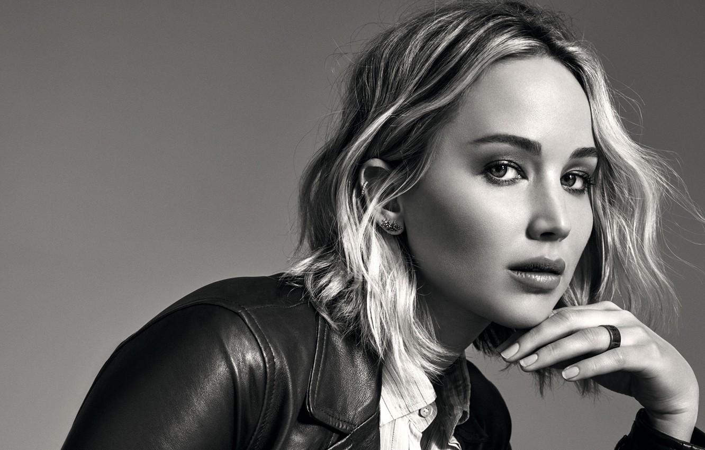 Photo wallpaper look, pose, background, portrait, makeup, actress, jacket, hairstyle, blonde, black and white, beauty, photoshoot, Jennifer …