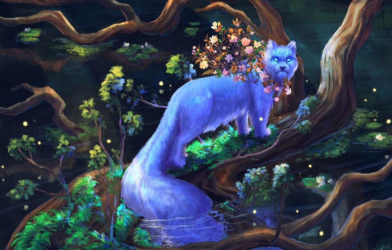 Photo wallpaper fantasy art, green foliage, fluffy tail, fabulous animal, glowing eyes, glowing eyes, white fur, the …