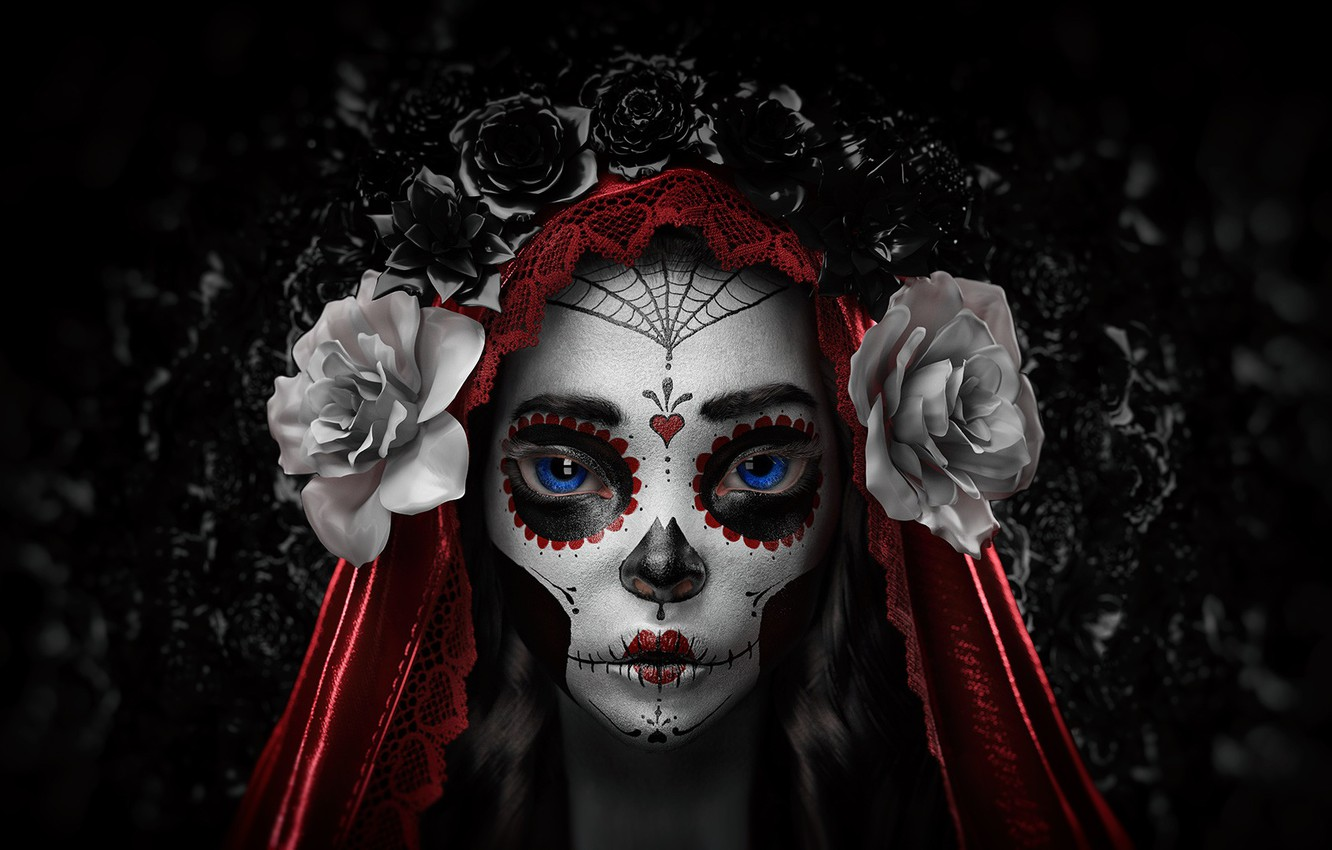 Photo wallpaper Flowers, Girl, Minimalism, Style, Eyes, Background, Calavera, Rendering, Day of the Dead, Day of the ...