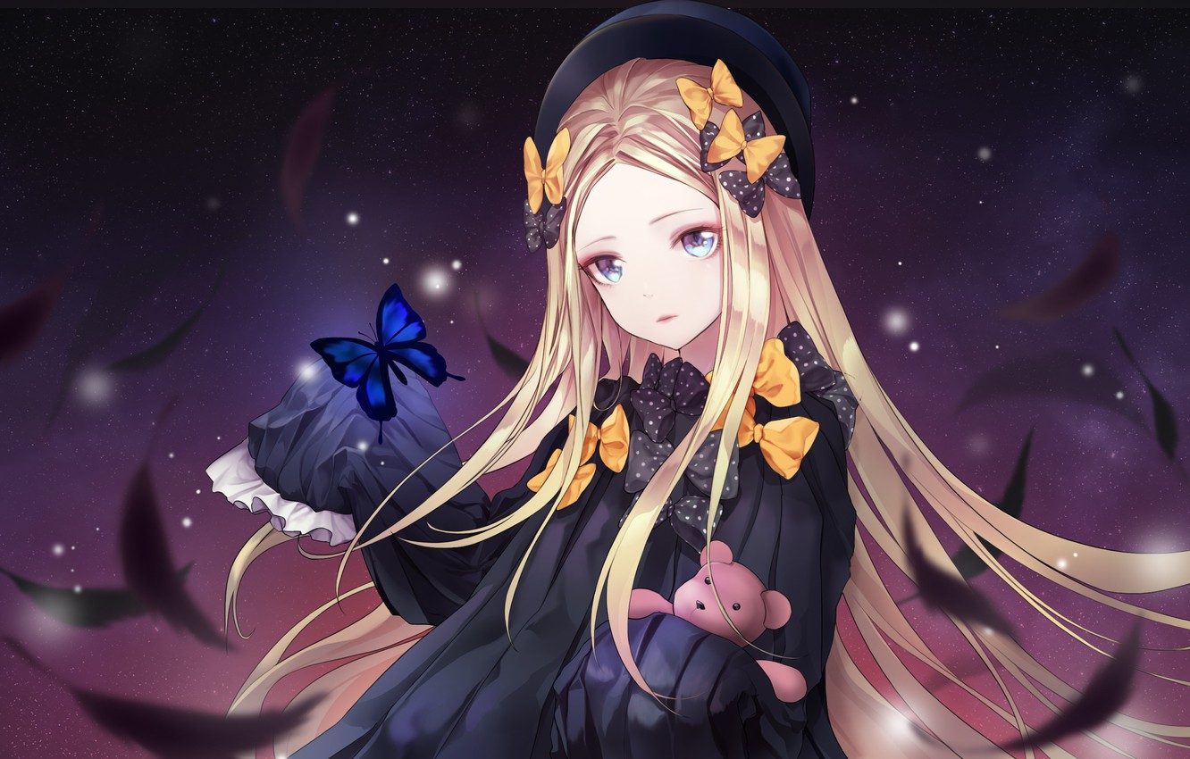 Photo wallpaper girl, night, feathers, Fate / Grand Order, The destiny of a great campaign