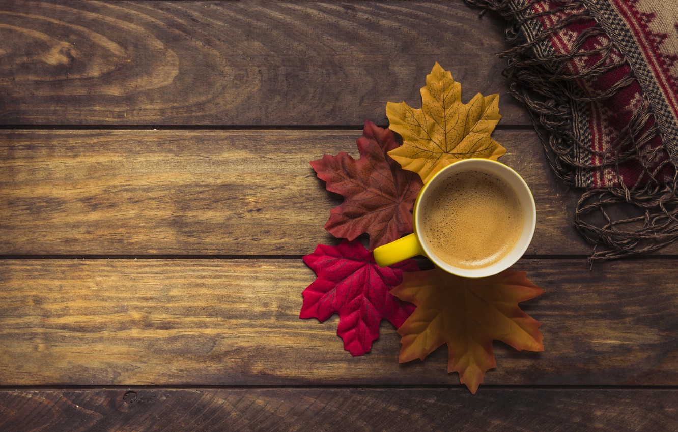 Photo wallpaper autumn, leaves, background, tree, coffee, colorful, scarf, Cup, Board, wood, background, autumn, leaves, cup, coffee, …
