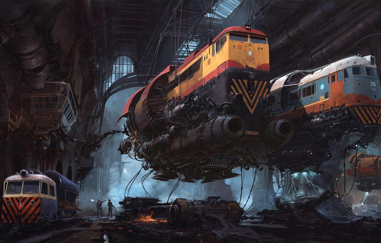 Photo wallpaper Figure, Locomotive, Train, The world, Trains, World, Fantasy, Art, Art, Fiction, Train, Diesel, Diesel, Fly, ...