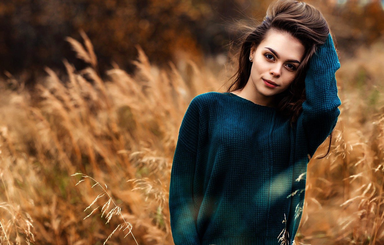 Photo wallpaper grass, look, background, model, portrait, makeup, hairstyle, brown hair, is, nature, posing, bokeh, jumper, Алексей …