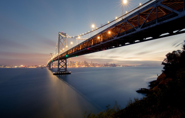 Photo wallpaper landscape, mountains, bridge, the city, the evening, lighting, lights, Bay, San Francisco, USA, San Francisco, …