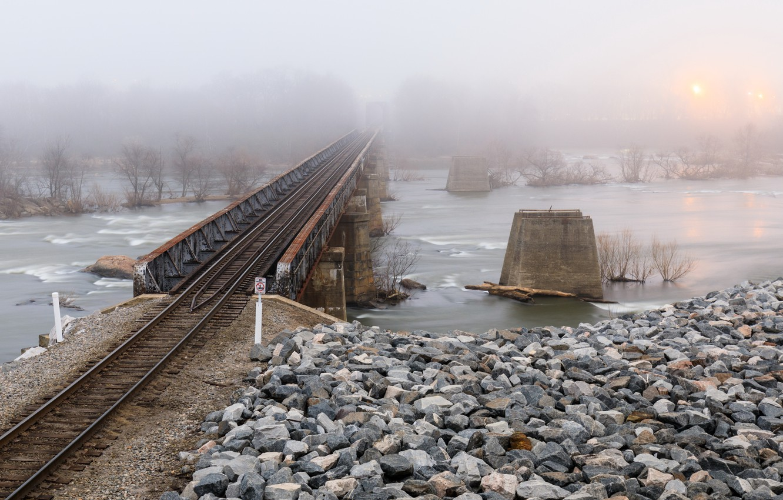 Photo wallpaper bridge, fog, river, railroad