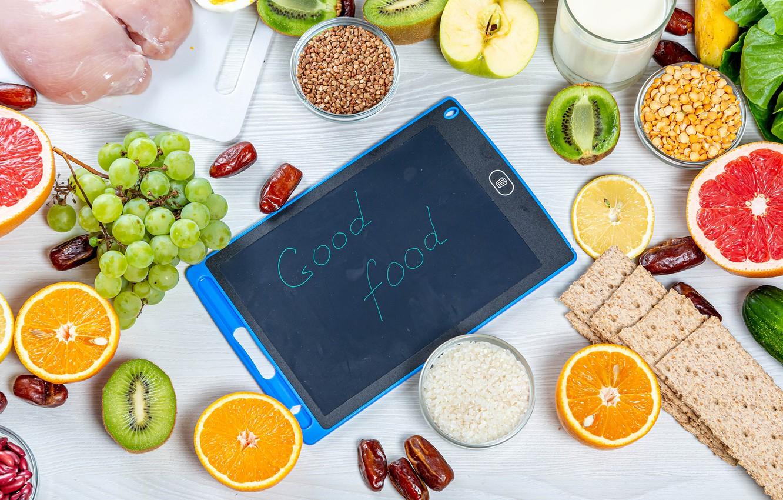 Photo wallpaper Apple, oranges, kiwi, milk, grapes, fruit, tablet, dates