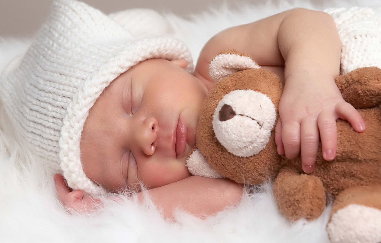 Photo wallpaper toy, sleep, bear, sleeping, fur, cap, baby
