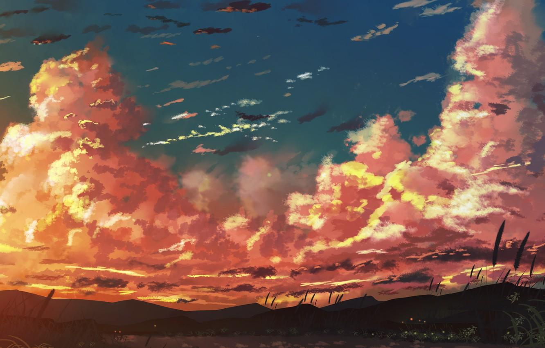 Photo wallpaper the sky, sunset, mountains, lake