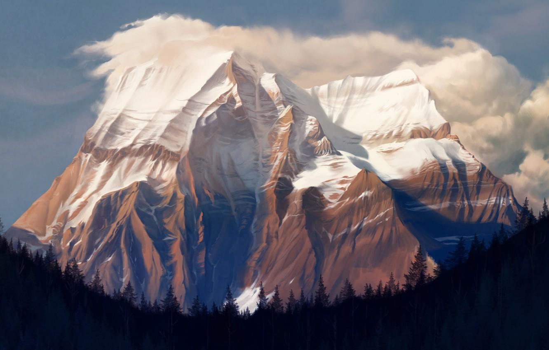 Photo wallpaper Mountain, Forest, Rock, Landscape, Rock, Art, Art, Landscape, Mountain, Forest, Mt. Robson, Environments, Damien Mammoliti, ...