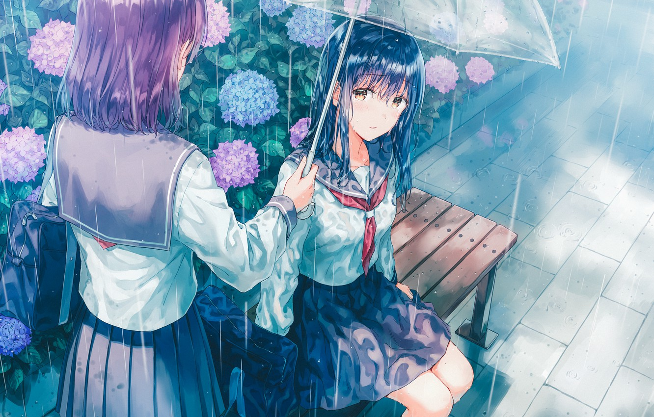 Photo wallpaper umbrella, bag, Schoolgirls, two girls, blue hair, hydrangea, sailor, on the bench, rainy weather