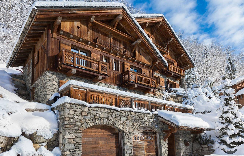 Photo wallpaper Winter, Snow, House, Spruce