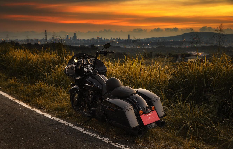 Photo wallpaper road, sunset, motorcycle