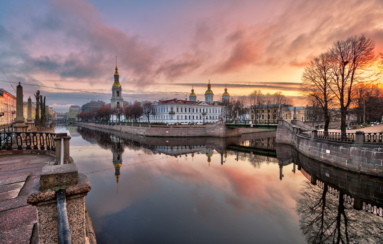 Photo wallpaper autumn, sunset, the city, reflection, building, tower, Peter, Saint Petersburg, channel, dome, Ed Gordeev, Gordeev …