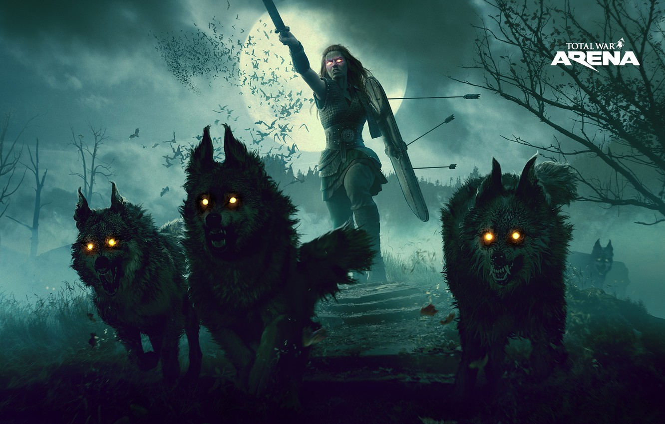 dark, moon, sword, wolf, total war