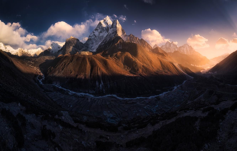 Photo wallpaper mountains, mountain, valley, Tibet