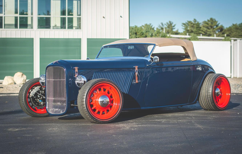 Photo wallpaper Hot Rod, Convertible, Custom, Vehicle, Red wheels