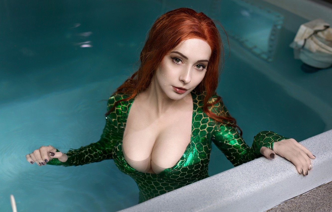 Photo wallpaper Water, Girl, Photo, Chest, Look, Pool, Girl, Costume, Tits, Boobs, Breast, Red, Water, Beauty, Photo, …