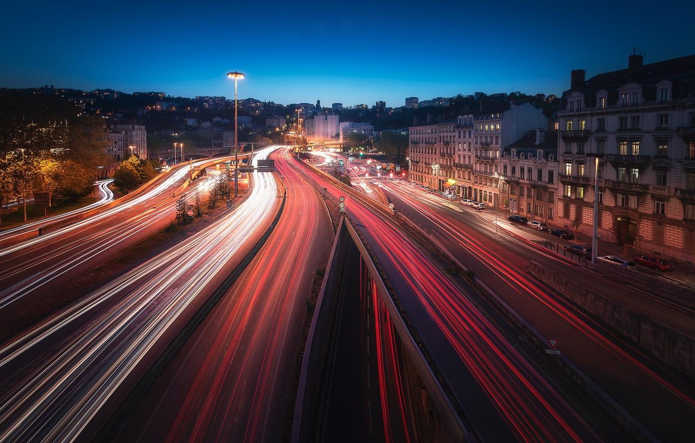 Wallpaper Lights France The Evening Lyon Images For Desktop Section Gorod Download