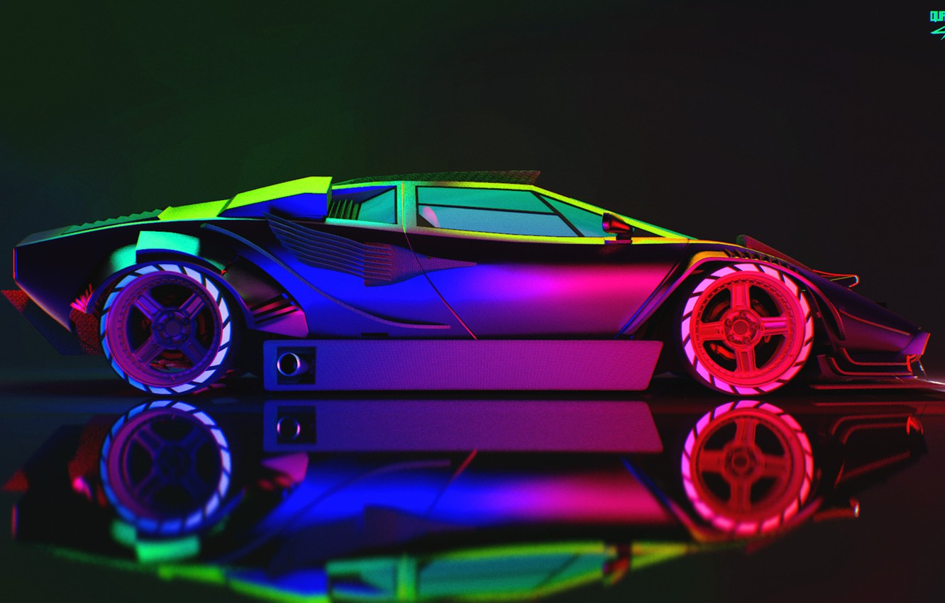 Wallpaper Auto Lamborghini Neon Machine Car Art Neon Countach