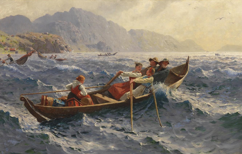 Photo wallpaper Norwegian painter, 1900, Hans Dahl, Hans Dahl, Norwegian painter, Stormy Crossing of the Fjord, The …