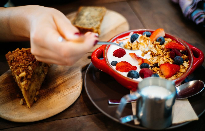 Photo wallpaper Breakfast, cake, muesli