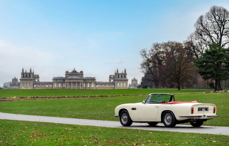 Photo wallpaper lawn, Aston Martin, convertible, 1970, 2018, Heritage EV Concept, DB6 Mark II Volante