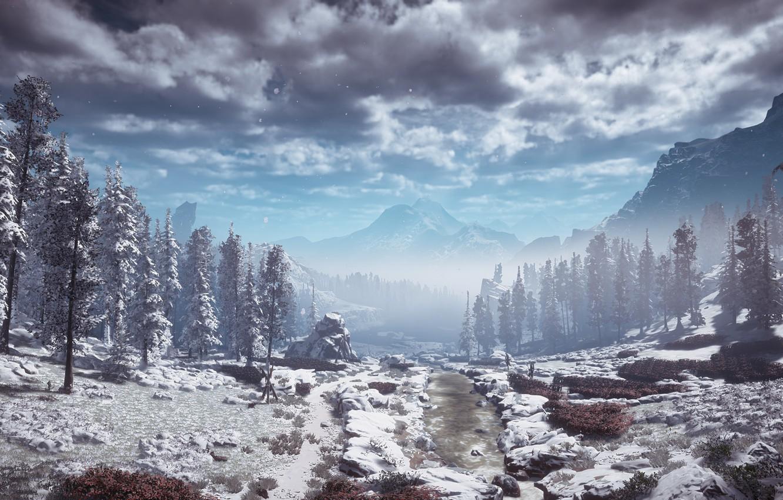 Photo wallpaper landscape, mountains, postapokalipsis, exclusive, Playstation 4, Guerrilla Games, Horizon Zero Dawn