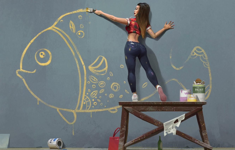 Photo wallpaper girl, wall, figure, fish, brush, draws