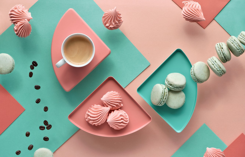 Photo wallpaper background, coffee, cookies, mug, marshmallows