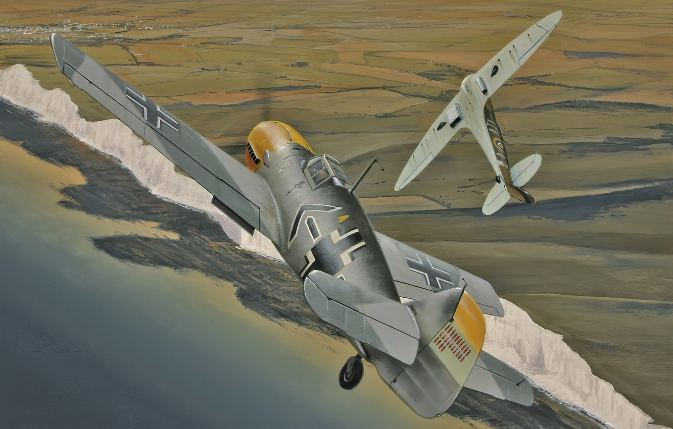 Photo wallpaper war, art, airplane, aviation, ww2, messerschmitt bf 109, supermarine spitfire