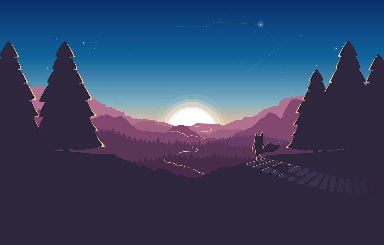 Photo wallpaper road, forest, the sky, the sun, stars, tree, Fox