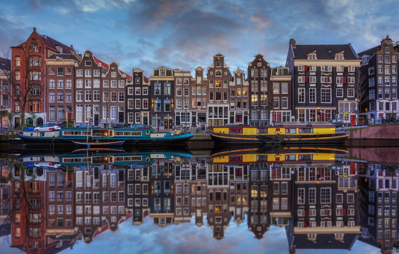 Photo wallpaper water, reflection, home, boats, Amsterdam, Netherlands