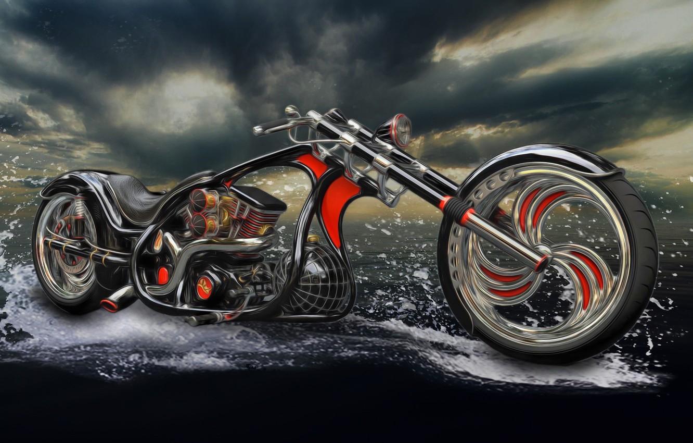 Photo wallpaper water, squirt, photoshop, motorcycle, bike