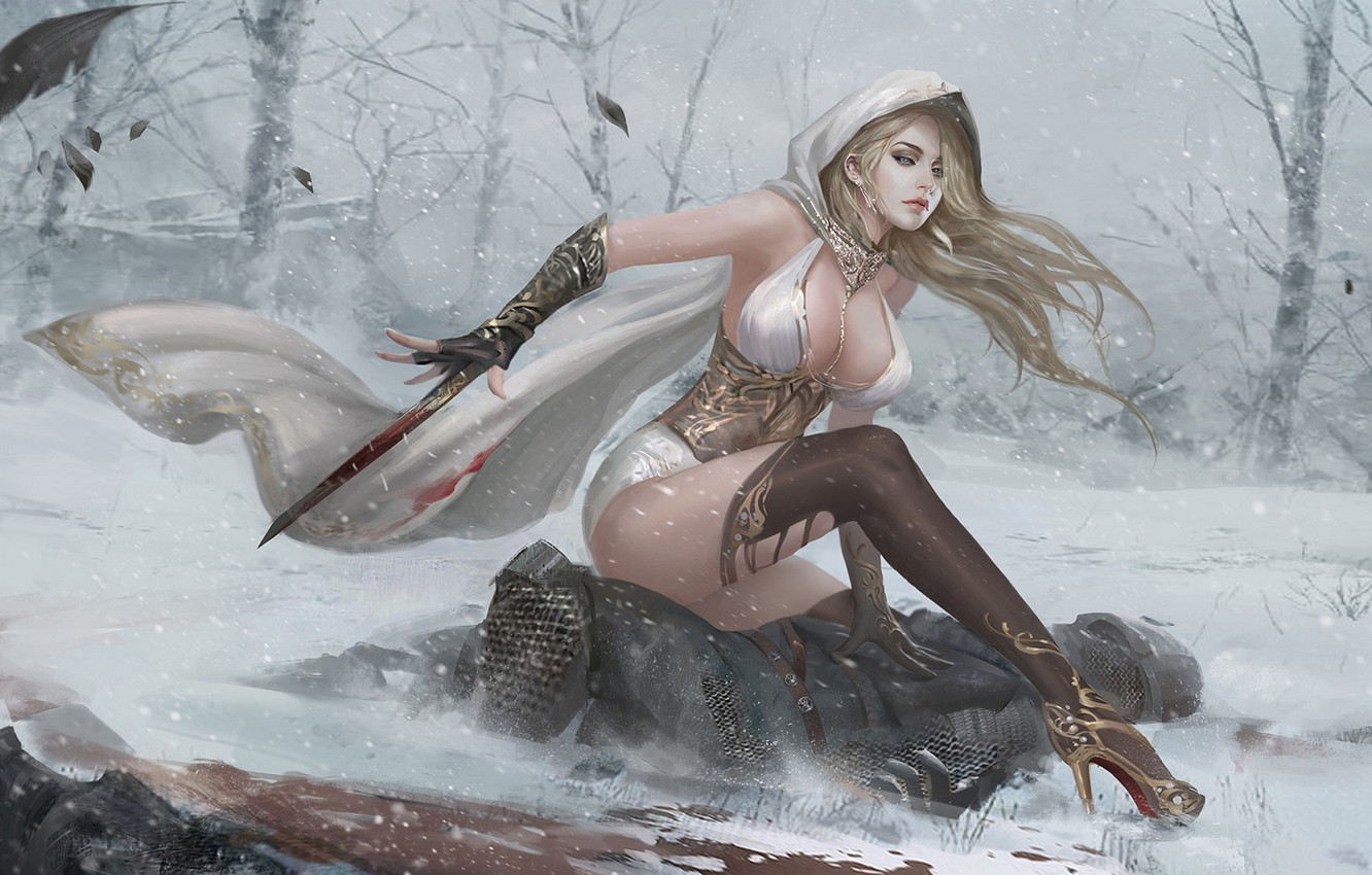 Photo wallpaper forest, look, girl, blood, body, Winter