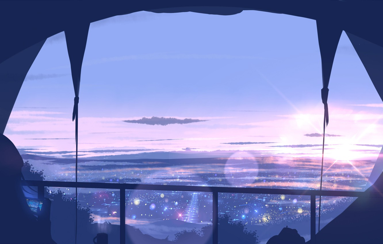 Photo wallpaper the sky, girl, window