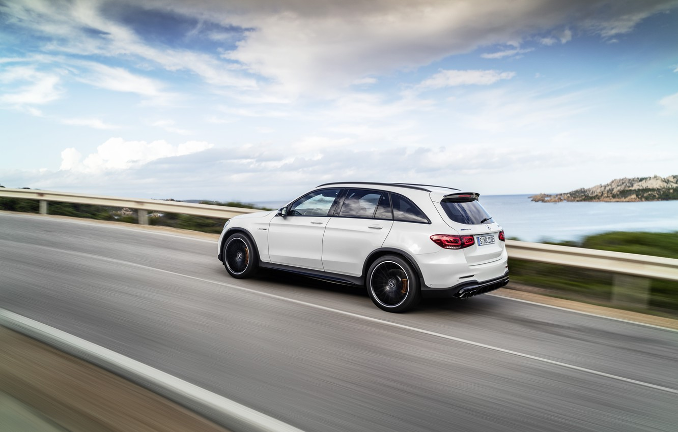Photo wallpaper road, coast, Mercedes-Benz, speed, side view, AMG, crossover, GLC, 2020, 4Matic+, GLC 63S