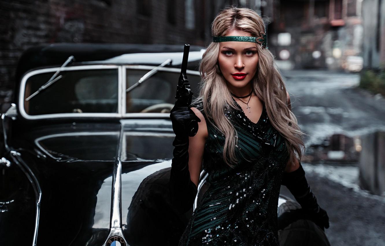 Photo wallpaper machine, auto, girl, pose, style, retro, gun, weapons, the situation, blonde, Альбина Пономарёва
