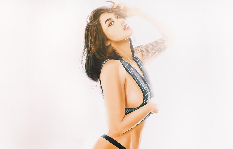 Photo wallpaper Girl, Minimalism, Look, White, Asian, Girl, Background, Tattoo, Art, Beautiful, Sexy, Art, Asian, White, Sexy, …