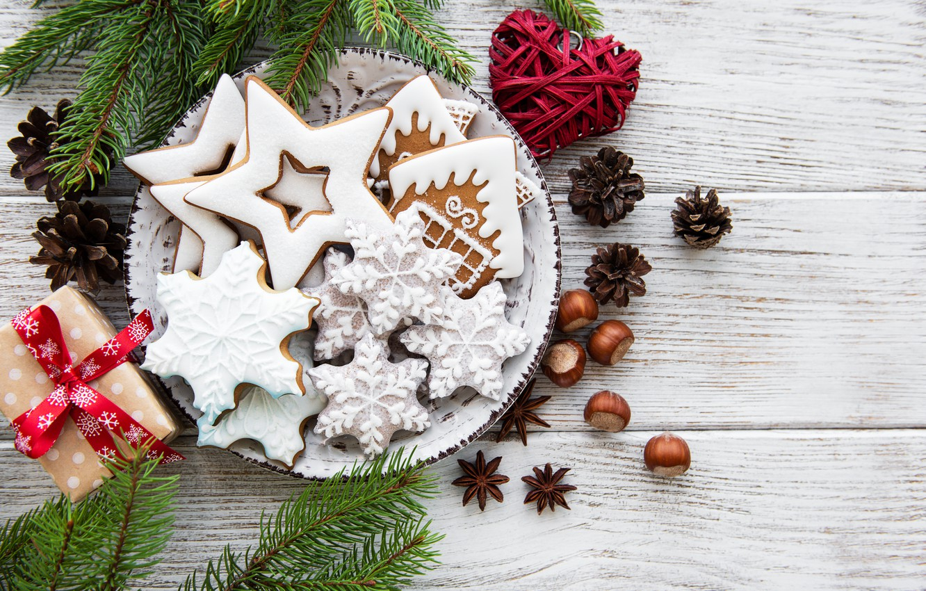 Photo wallpaper decoration, New Year, Christmas, christmas, wood, merry, cookies, decoration, gingerbread, gingerbread, fir tree, fir-tree branches