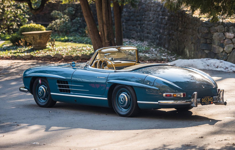 Photo wallpaper Roadster, Blue, Retro, 1962, Mercedes-Benz 300 SL
