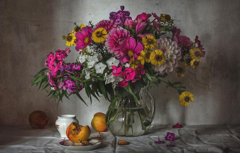 Photo wallpaper bouquet, peach, Phlox, Dahlia, zinnia