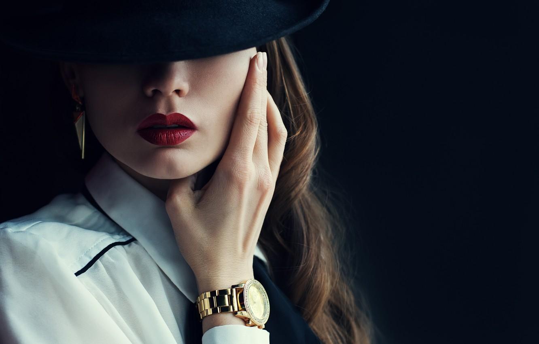 Photo wallpaper hat, woman, shadows, watch, make up