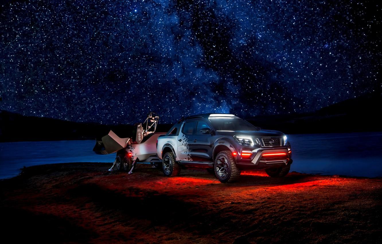 Photo wallpaper night, stars, backlight, Nissan, pickup, the trailer, 2018, Navara, Dark Sky Concept