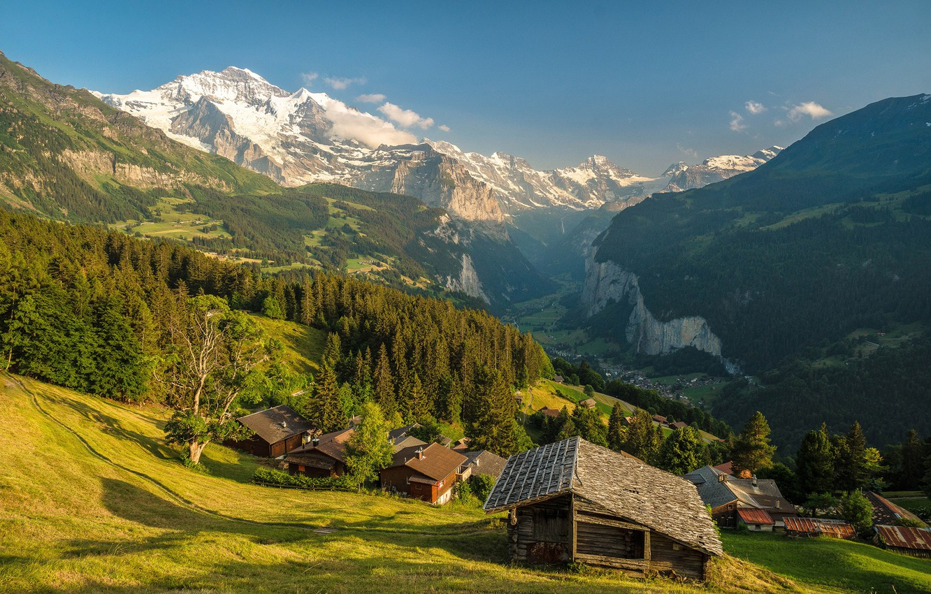 Photo wallpaper forest, the sky, the sun, trees, mountains, rocks, Switzerland, valley, slope, panorama, houses, gorge, the …