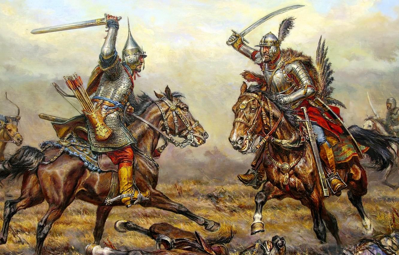 Photo wallpaper horses, armor, battle, warriors, pole, hussars, Rusich