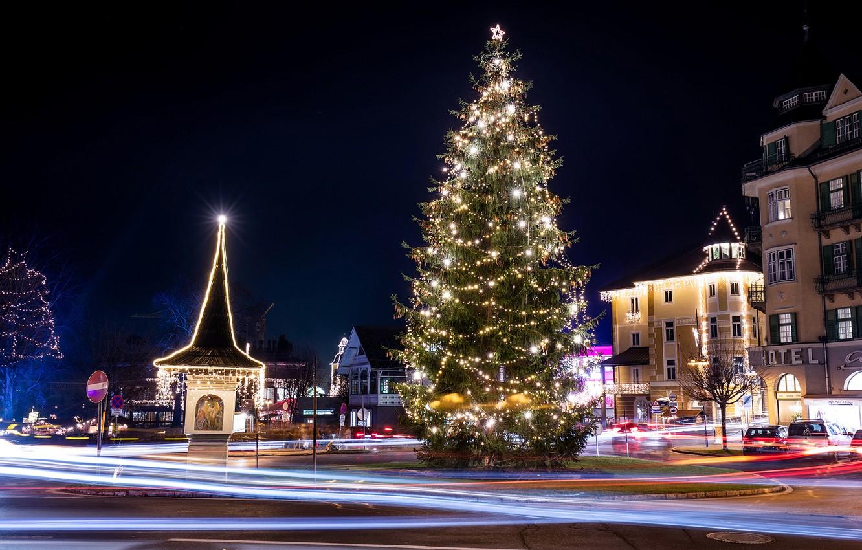 Photo wallpaper winter, night, street, tree, Austria, New year, garland