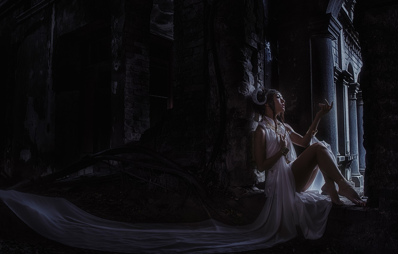 Photo wallpaper girl, pose, darkness, style, Gothic, horns, Asian, sitting, white dress